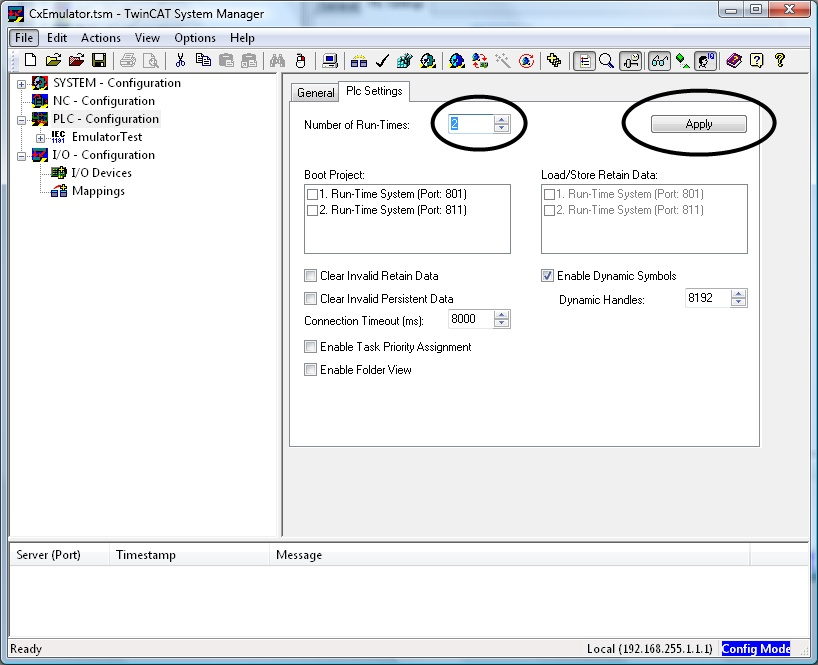 Enable additional TwinCAT PLC runtimes on the PLC Settings tab. Hit the Apply button to activate the setting.